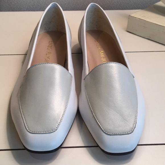 0361a7bc9df Enzo Angiolini Shoes - Enzo Angiolini White and Silver Loafers